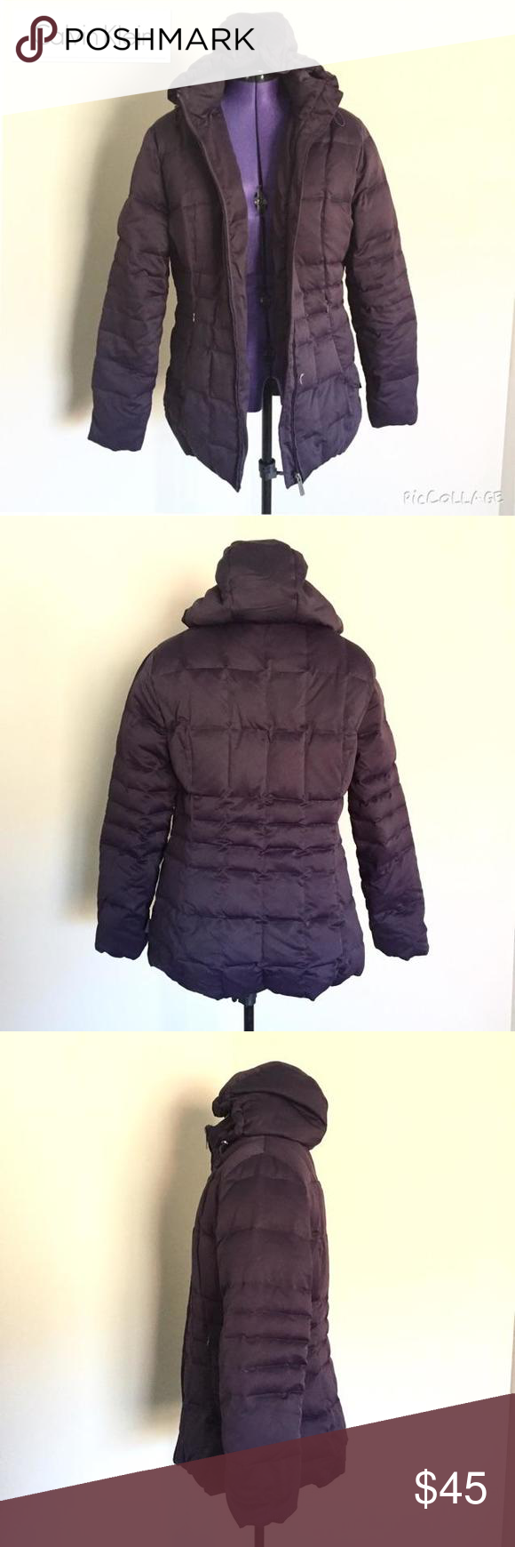 Calvin Klein Down Winter Coat Ultra warm quilted down winter coat from Calvin Klein. Deep plum color. Hood is detachable. Gently worn but in excellent condition. It's too big for me or else I would still be wearing it. Calvin Klein Jackets & Coats Puffers