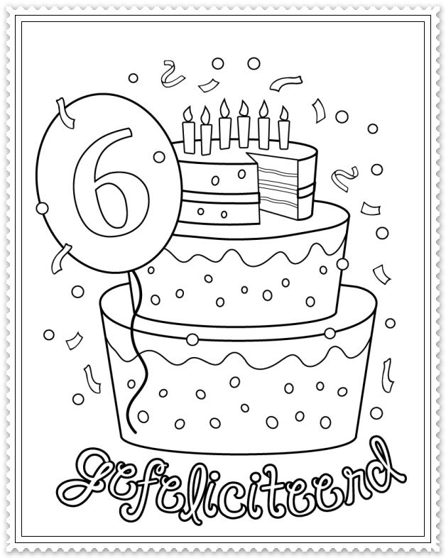 hoera 6 jaar kleurplaat verjaardag vieren feest