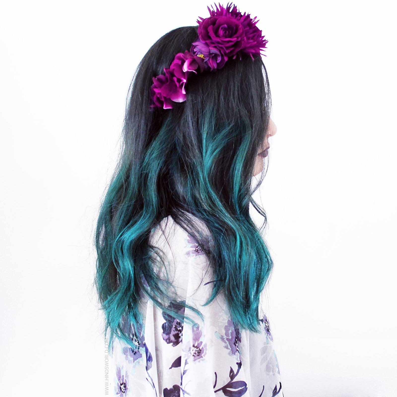 Manic Panic hair dye, voodoo blue. And a Dot your t's and cross your I's flower crown.