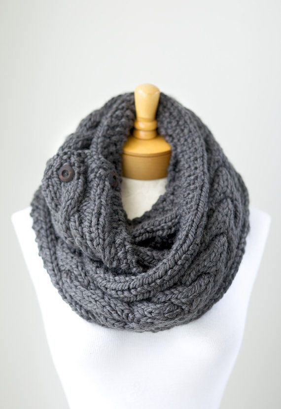 Chunky Cable Knit Infinity Scarf With Wooden By Pikapikacreative