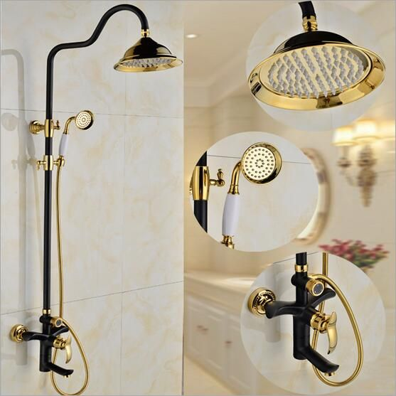 Dofaso luxury bathroom shower faucet 8 inch black shower head and ...