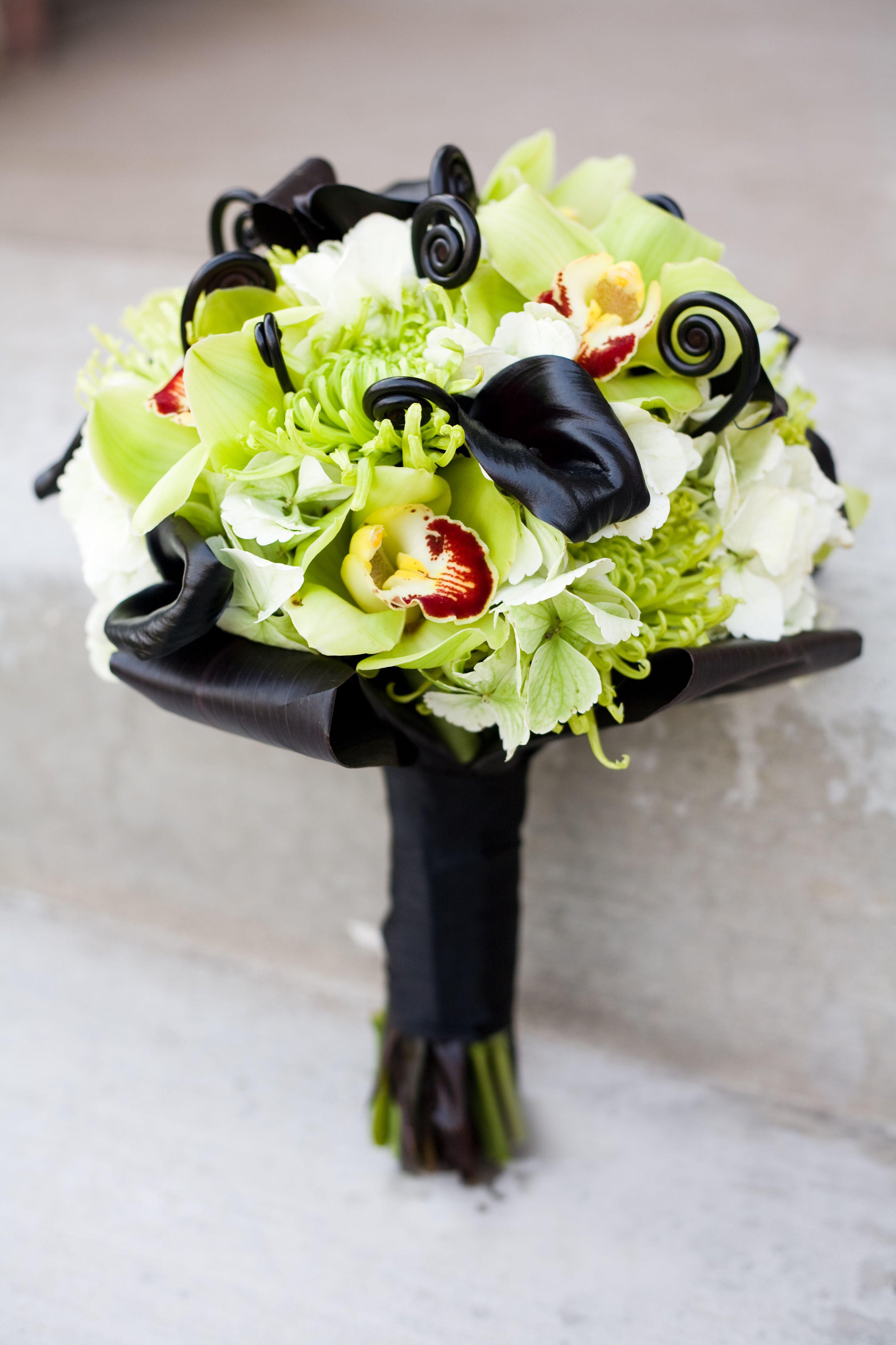 modern black calla lily green orchid wedding bouquet utah