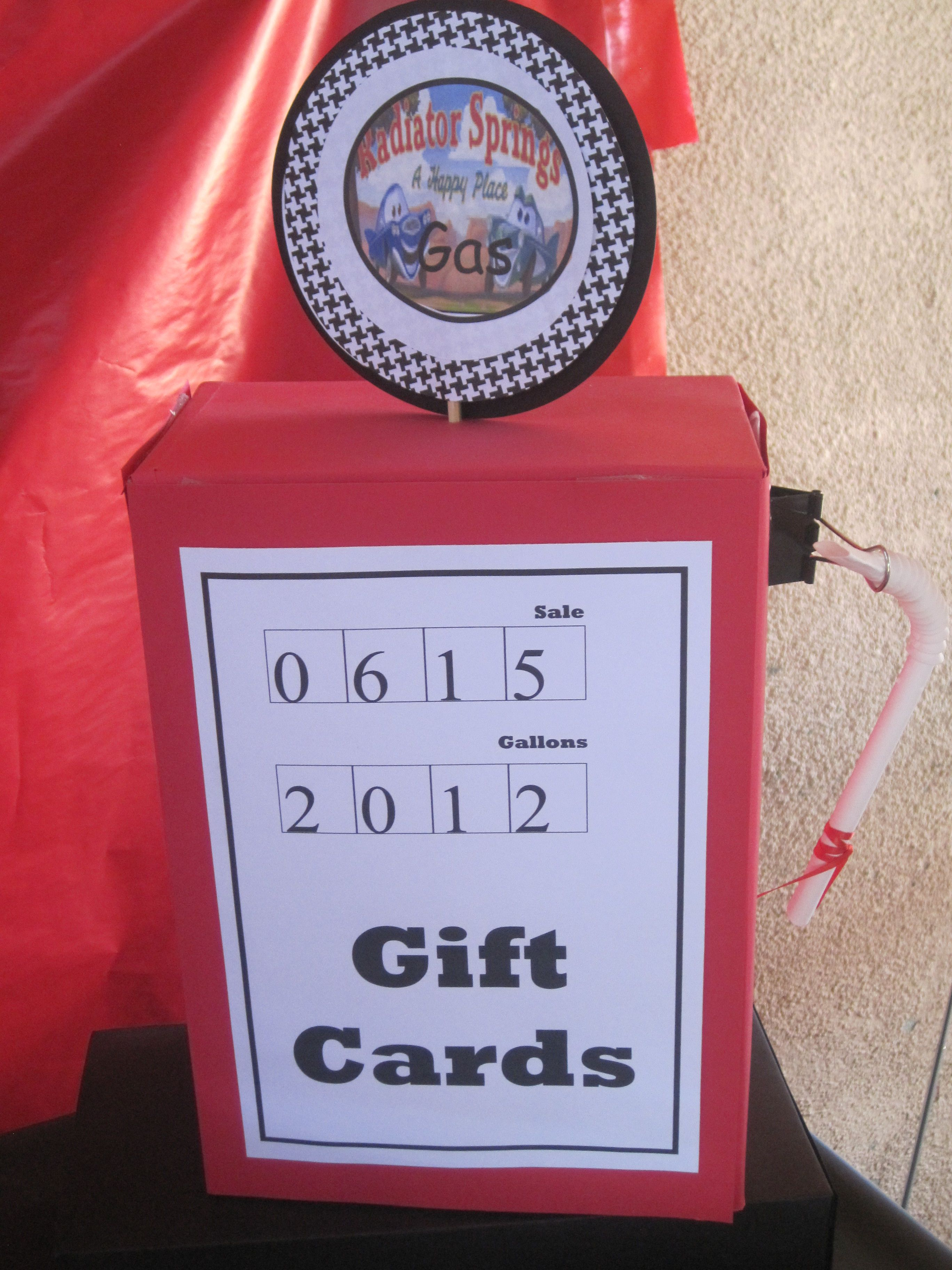 Embellished cars gift card box to resemble a gas pump
