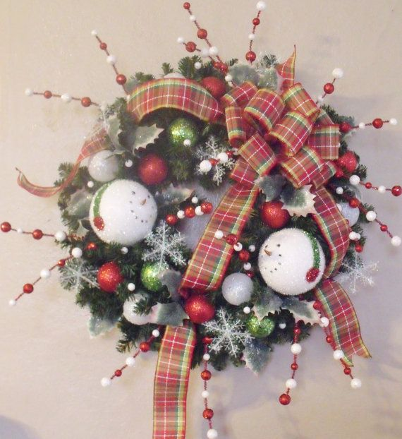 Clearance Sale SNOWMAN CHRISTMAS Wreath Silk Holiday Door Decor Swag