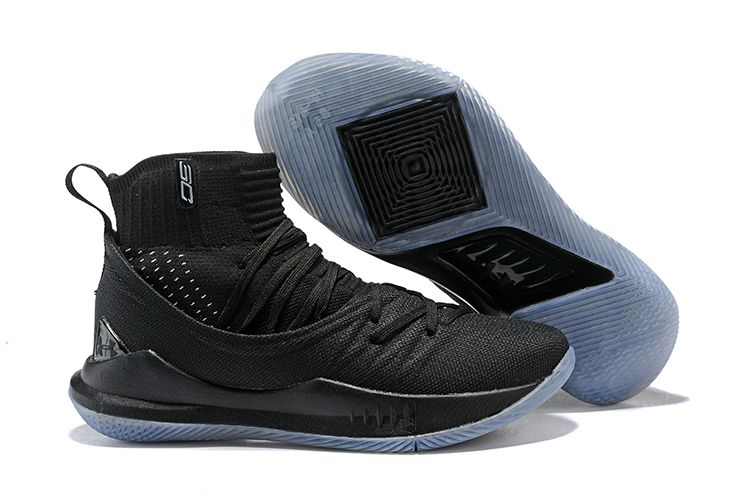 "Under Armour Curry 5 ""Black Ice"" High Top Mens Basketball Shoes"
