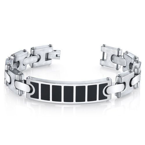 Mens Black Center H Style Link Combination Finish Stainless Steel I.D. Bracelet