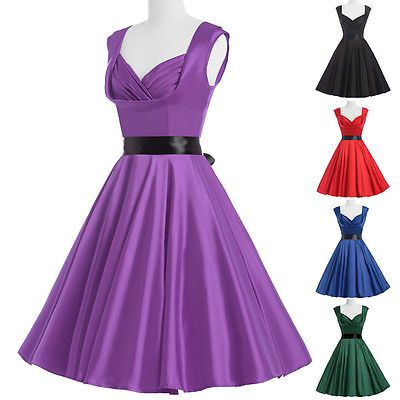 dress 50s style purple vintage retro solid knee length sleeveless swing evening