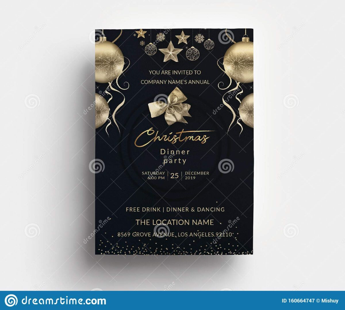 Christmas Dinner Party Invitation Card Template Stock Vector With Regard To 4x6 Phot Dinner Party Invitations Photo Card Template Christmas Photo Card Template