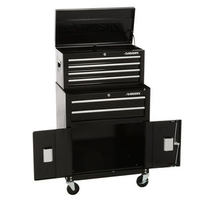 Husky  Drawer Tool Chest And Rolling Tool Cabinet Set Black