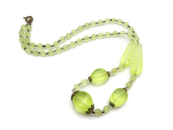 Czech Uranium Glass Necklace 1930s Estate Jewelry Vaseline Glass Glass Necklace Glass Bead Necklace Beaded Necklace