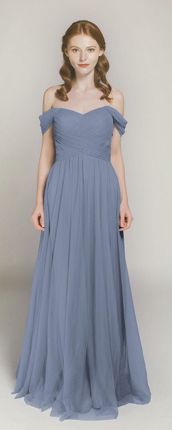 Long off shoulder tulle bridesmaid dress tbqp328 dusty for Over the shoulder wedding dress