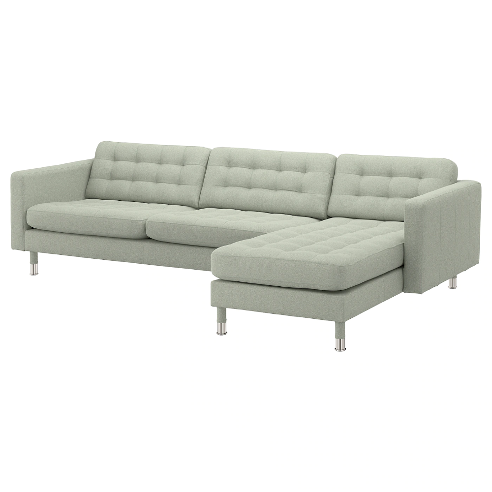 Landskrona Sectional 4 Seat With Chaise Gunnared Light Green