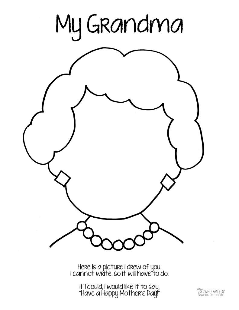 Mother's Day Coloring Page Grandma Short Hair Who Arted ...