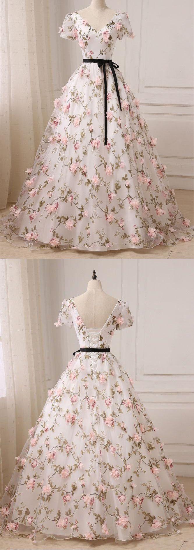 Aline vneck floorlength tulle appliqued short sleeve prom dresses