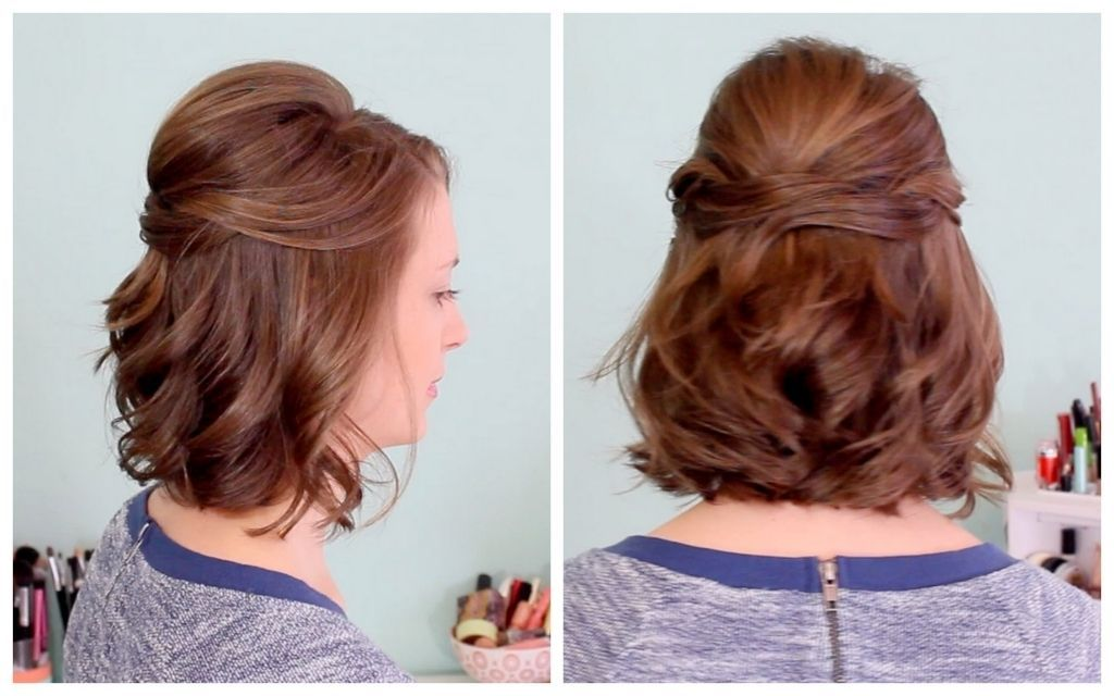 Half Updo Hairstyles For Medium Length Hair Quick Half Up Hairstyle For Short Hair Youtube Short Wedding Hair Half Up Hair Half Updo Hairstyles