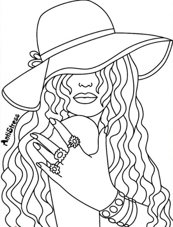 Coloring pages for adults app ~ Pretty Lady coloring page | Recolor App | Cute coloring ...