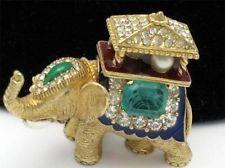 CINER Vintage Brooch Figural Howdah Elephant Pin Rhinestone Enamel