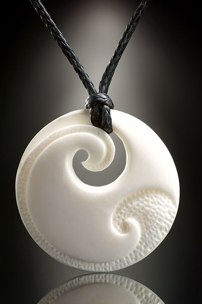 Bone jewelry pendant Engraved Koru - could be carved from wood