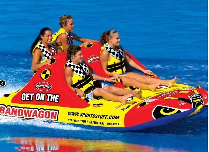 Towable Water Tube 4 Person Inflatable Rider Raft Float Bandwagon Boat Jet Ski Rafting Water Tube Boat