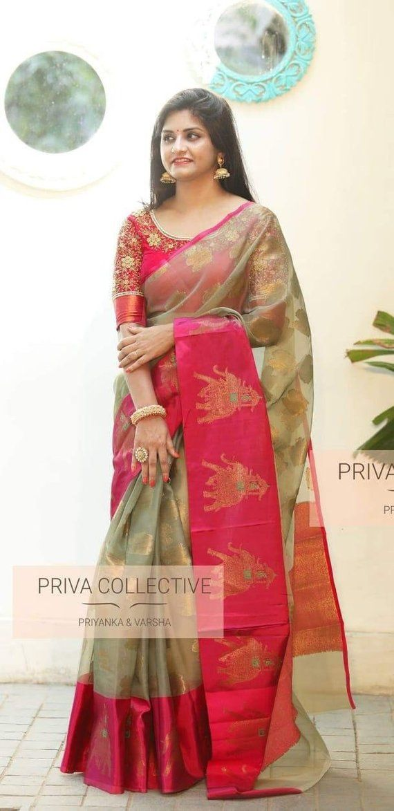 0390aa7e5c75ec Pure kanchi Organza Silk Saree Heavy Thread Weaving Work With Brocade  Running Blouse For Women Wear,