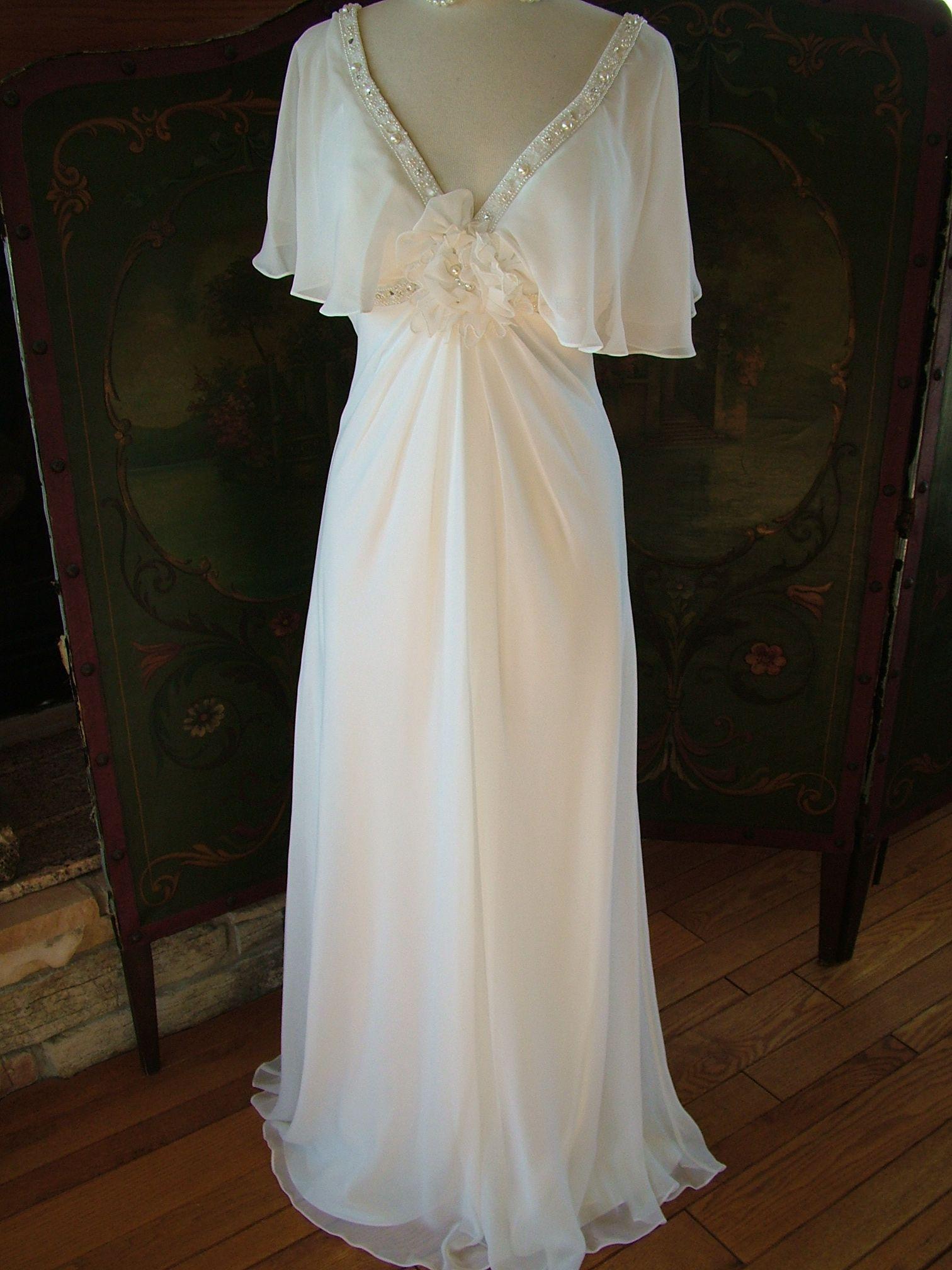 Vintage 1930s inspired wedding dress petal sleeve chiffon for 1930s inspired wedding dresses