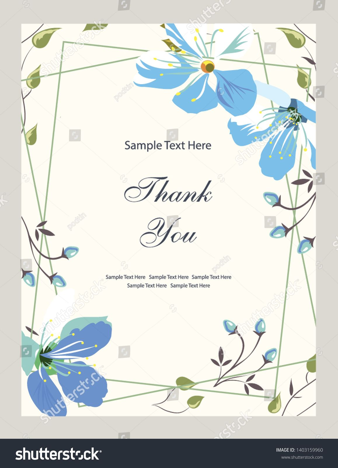 Flower Vector Card Template Thank You Blank Wedding Invitation Greeting Card Banner Flowers Leafs Vintage De Blank Wedding Invitations Cards Templates