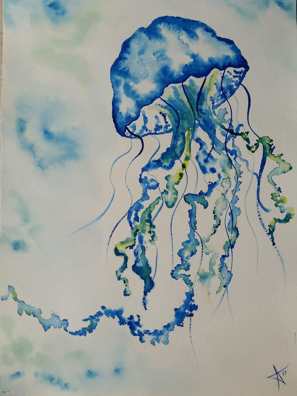 Luisa Touya Original Aquarelle Watercolor Meduse Jellyfish