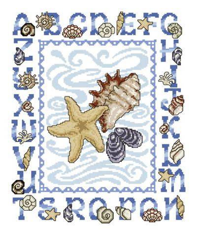 Seashell Alphabet cross stitch pattern.