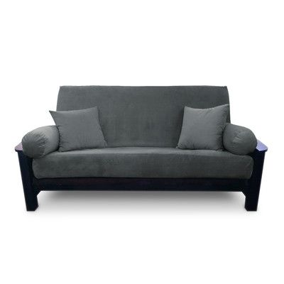 Simoes Solid Box Cushion Futon Slipcover Upholstery Slate Size Full Http