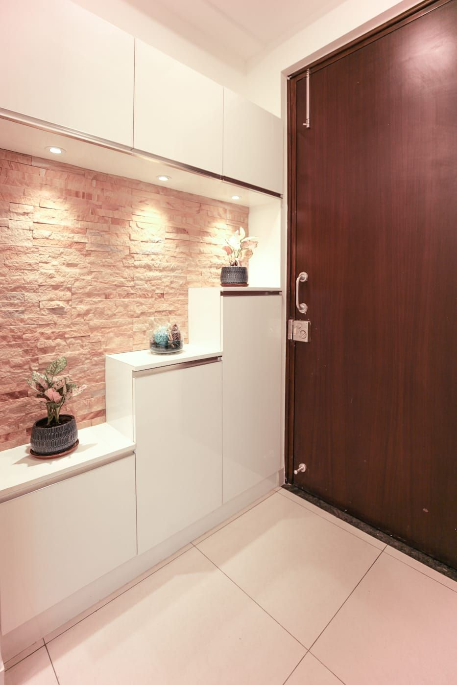 The Shoe Rack In The Foyer With Stone Cladding Corridor