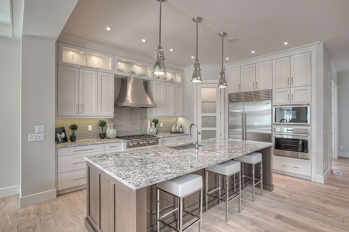 Best Kitchen White Cabinets Gray Backsplash Gray Or Brown 640 x 480