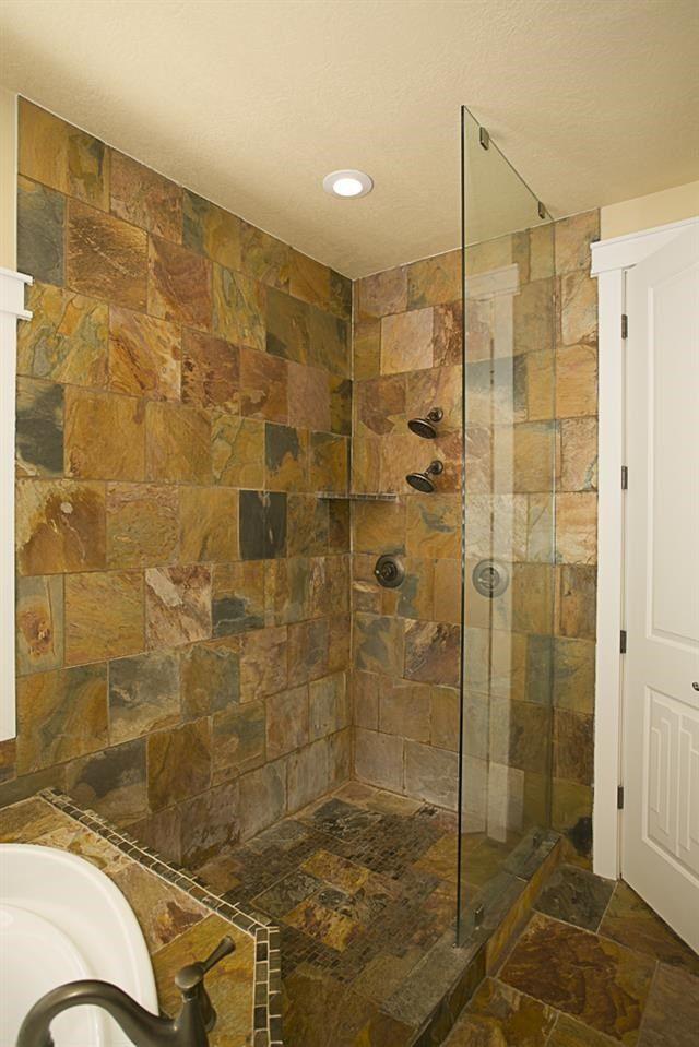 slate tile bathroom | Bathroom Ideas | Bathroom, Slate ...