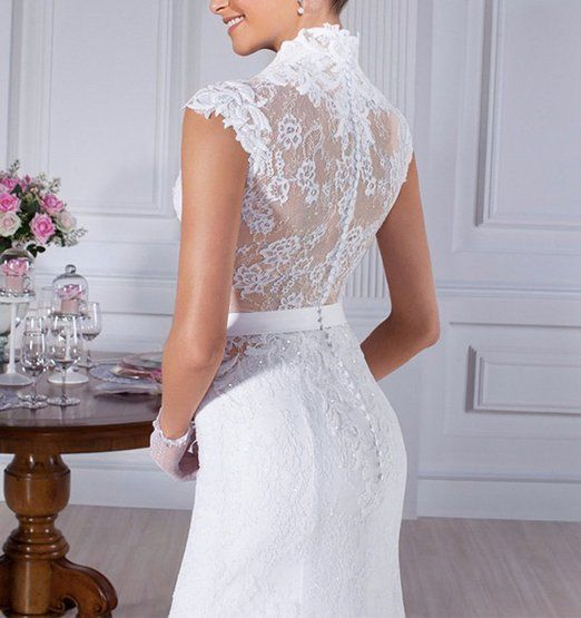 Lovelybride Vintage Cap Sleeve Lace Mermaid Wedding Dress