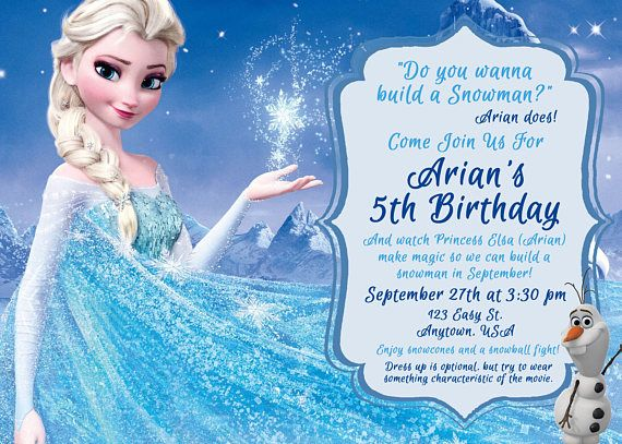 Frozen Birthday Invitation With Elsa And Says Do You Want To Build A Snowman Anna Elsa And Olaf For A Frozen Themed Birthday Party Invite Frozen Themed Birthday Party Frozen Birthday