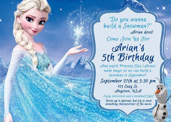 frozen birthday invitation with elsa