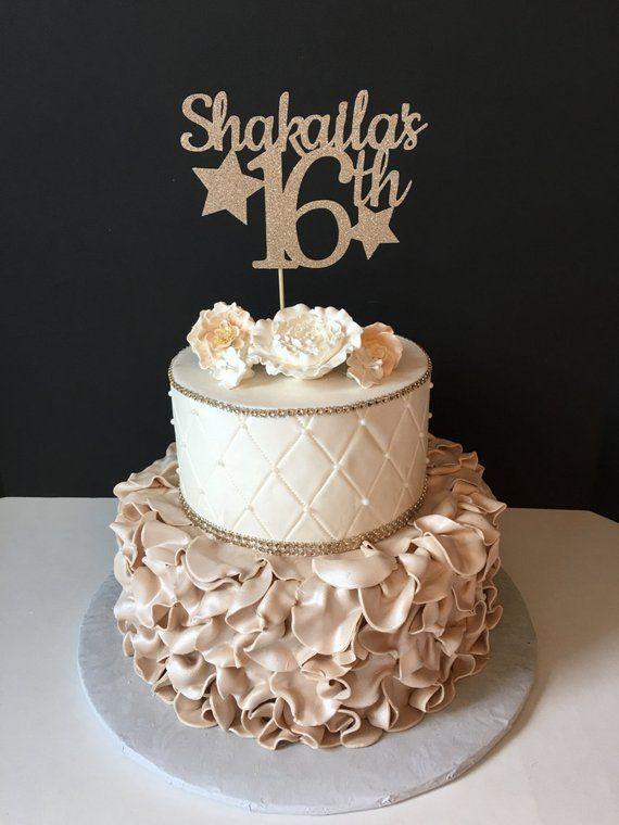 ANY NAME NUMBER Glitter 16th Birthday Cake Topper Star Bir