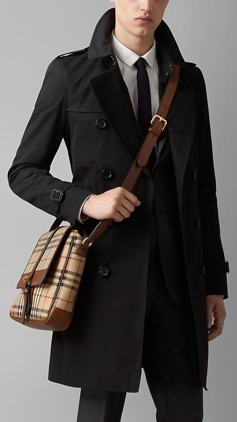 7197598670d1 Tan Horseferry Check and Leather Crossbody Bag - Burberry Burberry Men