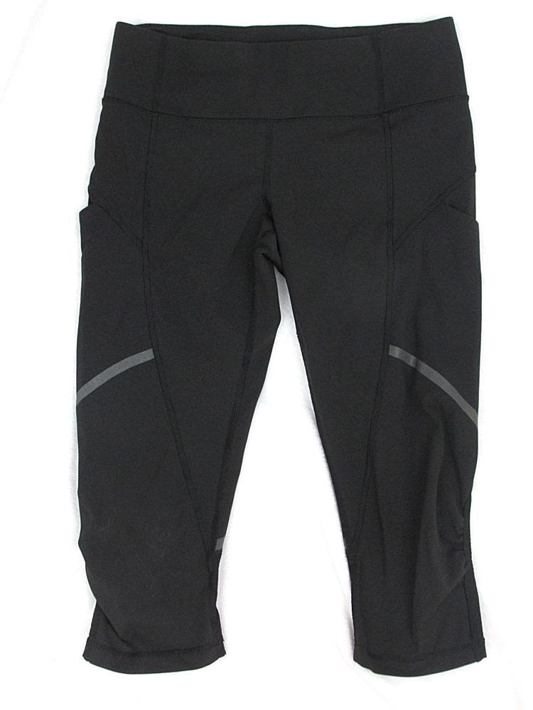 36ce270ff5 Lululemon Sz 6 Black Run For Fun Capri Cropped Leggings Side Pockets  Reflective #Lululemon #Cropped #RunningYoga