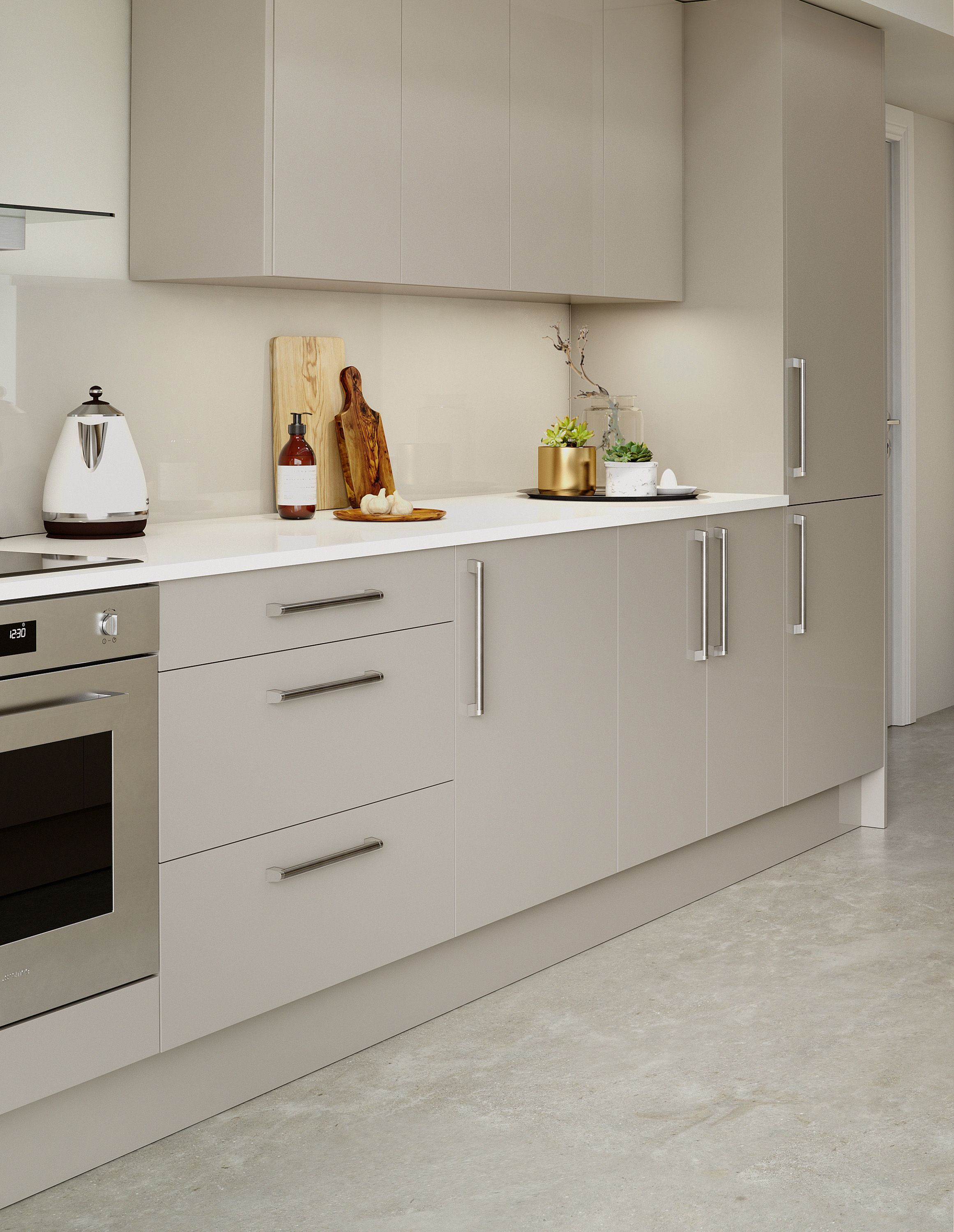 Modern kitchen with grey gloss doors, granite worktop and marble ...