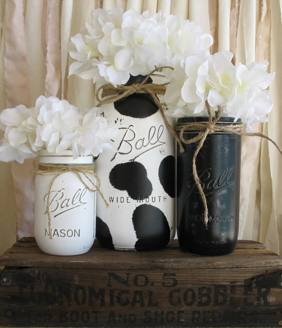 Set Of 3 Painted Mason Jars, Rustic Country Cow Print