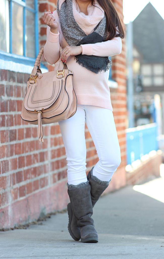 4882576eb22f2a Coziness taken to the next level! UGG Kara boots. Pink tunic sweater. Plaid  blanket scarf. White jeans. Chloe marcie bag. Blush wool hat.
