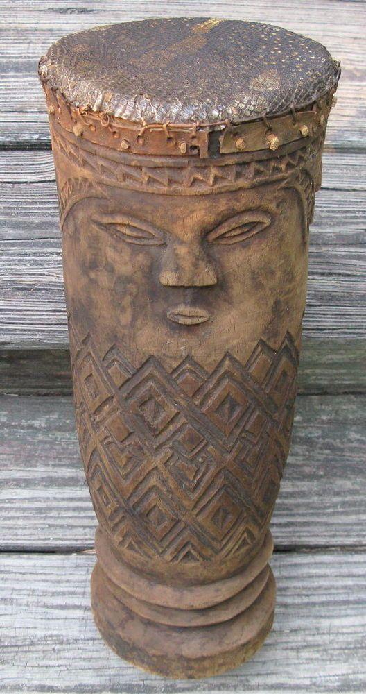 African Drum Hand Carved Wood Lizard Skin Kuba People