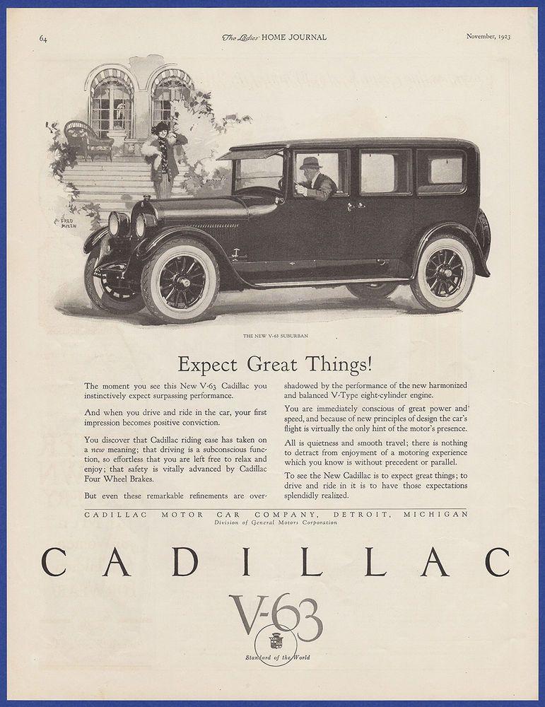 Vintage 1923 CADILLAC V-63 Suburban Automobile Car Art Decor Print ...