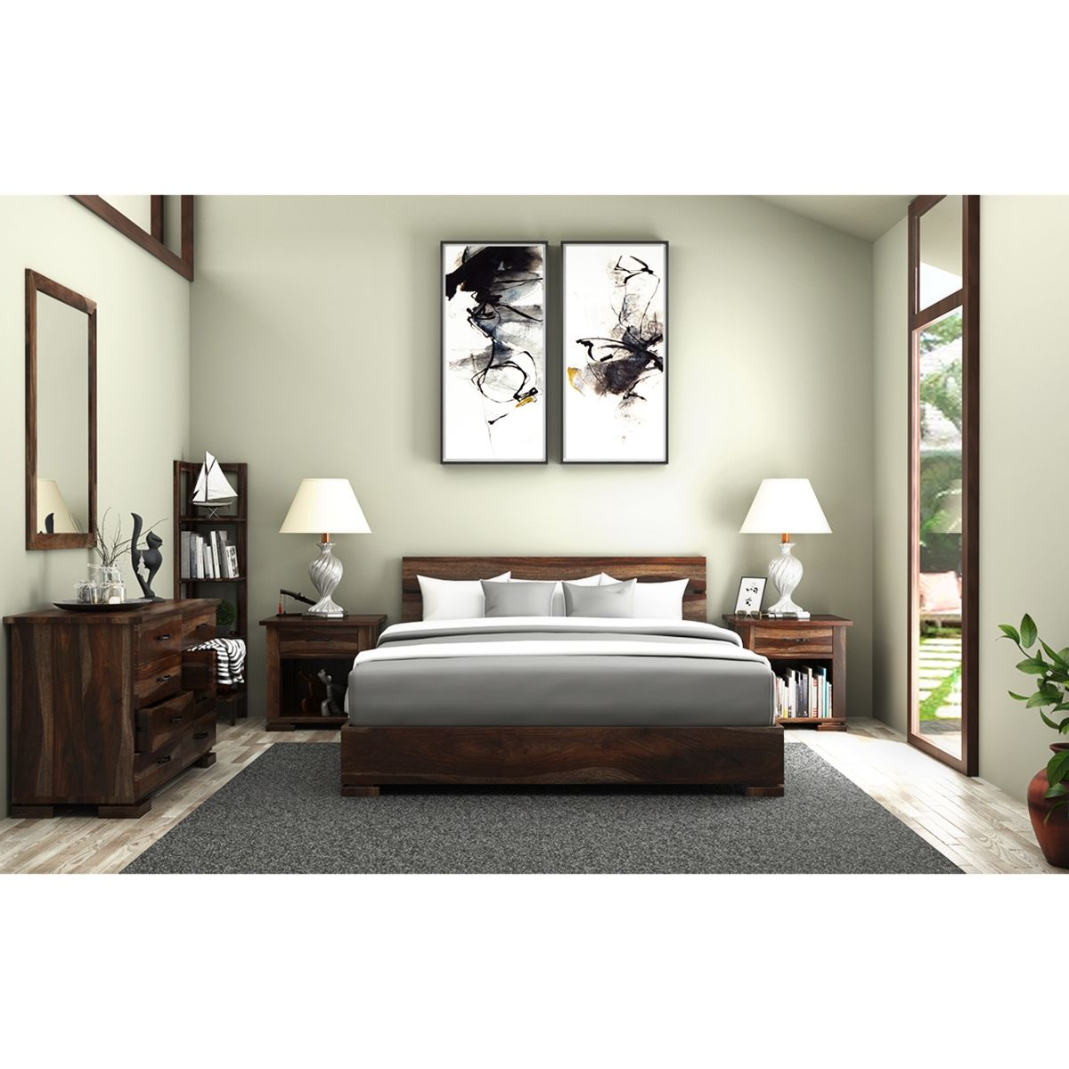 Athena Solid Wood Platform Bed 5 Piece Bedroom Furniture Set