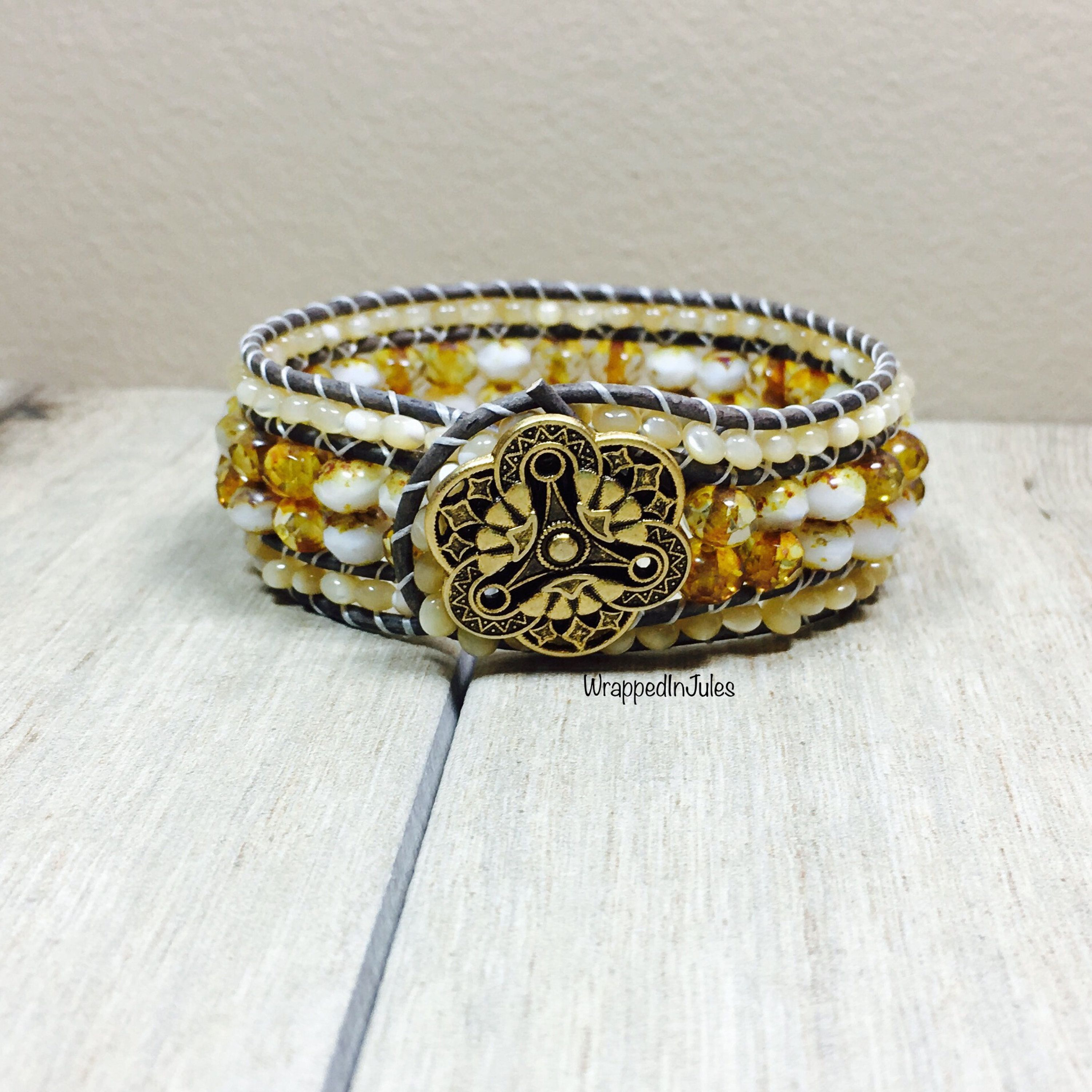 Phoebe in mother of pearl beaded leather bracelet mother of pearl