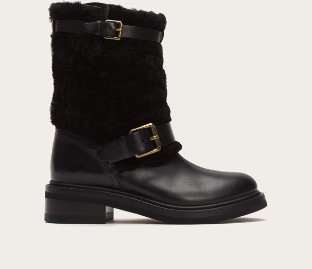 Alice Shearling Engineer, Black, 6.5