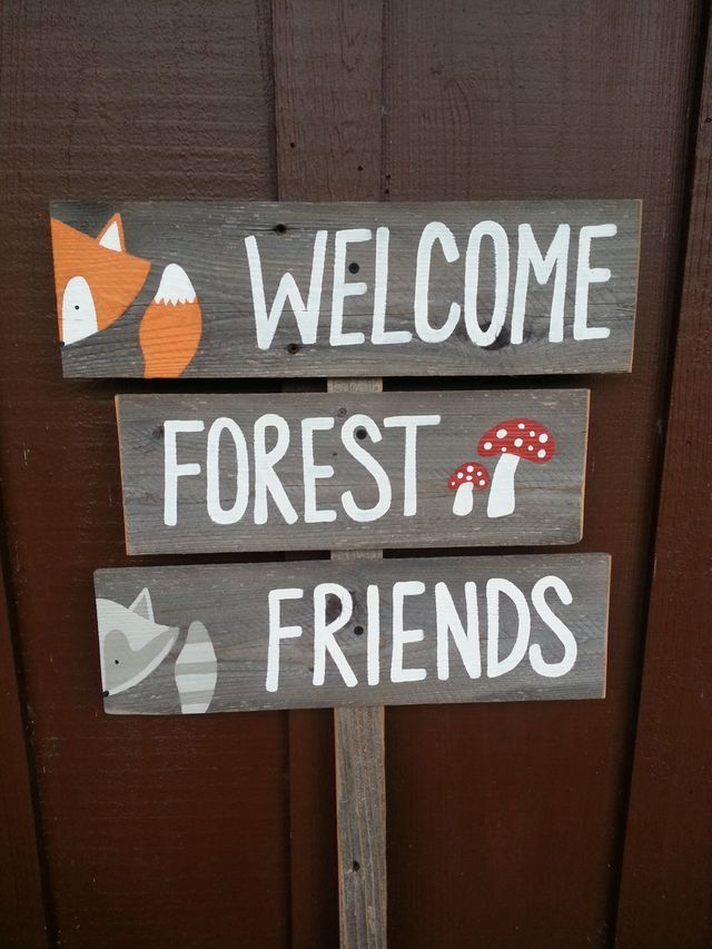 Items Similar To Welcome Forest Friends Sign Baby Shower Signs Forest  Animals Fox Raccoon Mushrooms Woodland Woodlands Rustic Baby Decorations  Deer Gift On ...