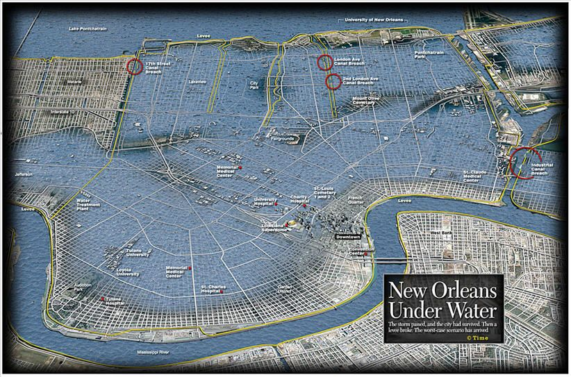 Hurricane Katrina New Orleans Map.New Orleans Katrina Map Google Search Graphics New Orleans