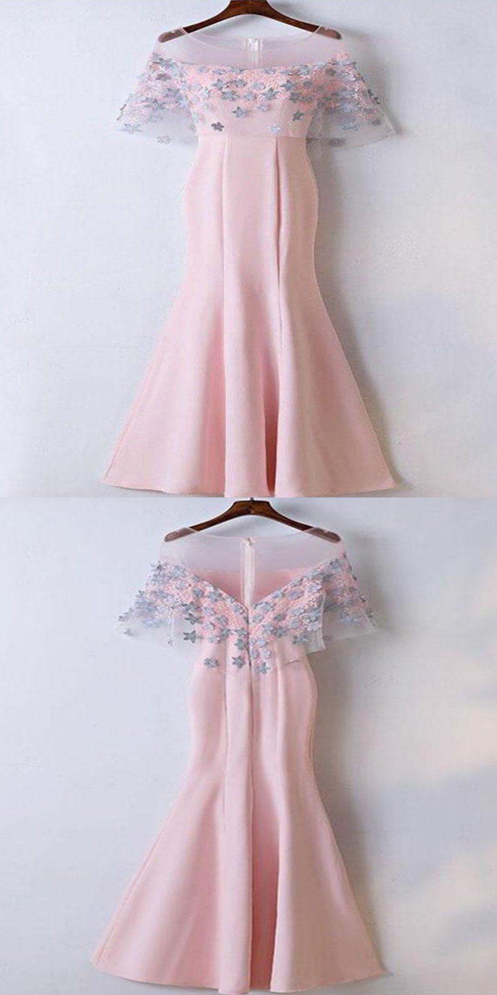 Mermaid scoop neckline pink cap sleeves long prom dressesvppd in
