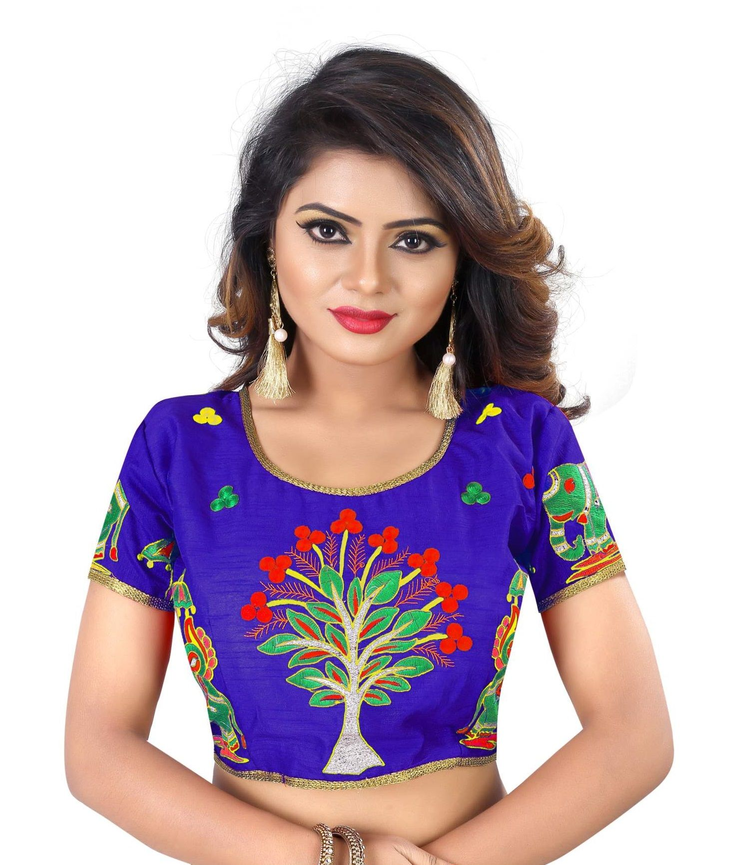 d9b8b17e7ef Indian Ethnic Design Stretchable Cotton Lycra Blouses Beige Tops Readymade Saree  Blouses Short Sleeve Crop Top